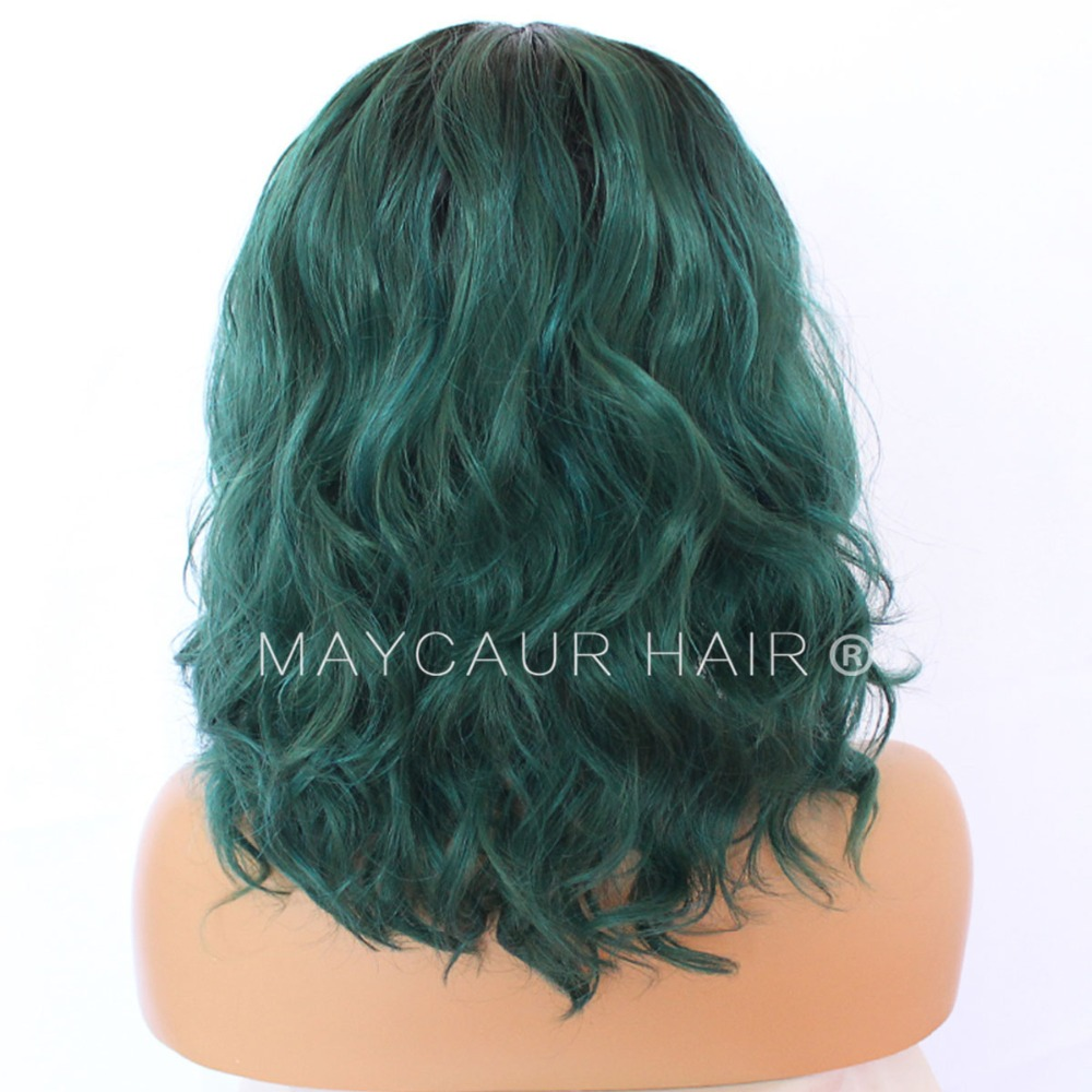 Maycaur Short Wavy Wig Black Green Color Synthetic Lace Front Wigs With Baby Hair 180 Density Loose Wave Lace Front Wigs For Women Black (8)