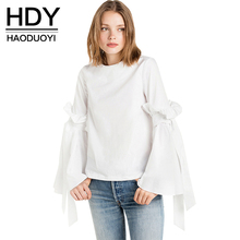 HDY H Ruffle Chic Women Tops White Sexy Frill Elegant Casual Loose Blouse Autumn Sweet Lace Up Preppy Style Shirt