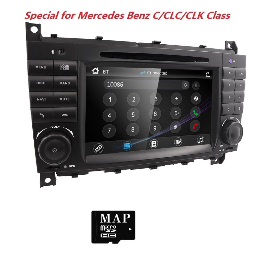 """7""""Car DVD player for Mercedes Benz C Class W203 2004 2007 CLC W203 2008 2010 CLK W209 2005 2011 GPS Bluetooth Radio Stereo audio-in Car Multimedia Player from Automobiles & Motorcycles    1"""