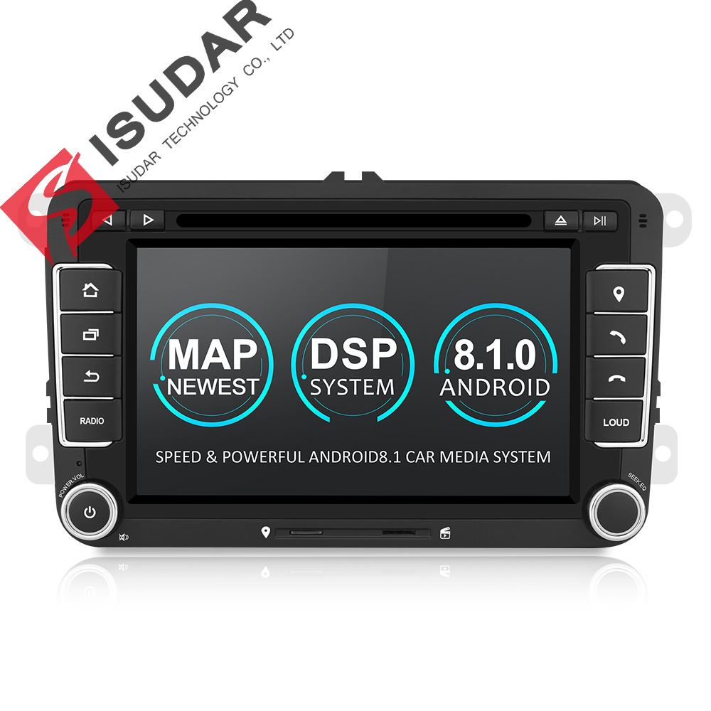 Isudar Car multimediální přehrávač Android 8.1 GPS 2 Din For VW / Golf / Tiguan / Škoda / Fabia / Rapid / Seat / Leon / Škoda canbus dvd automotivo fm