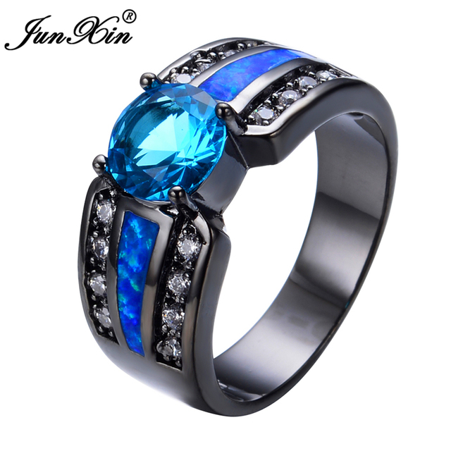 Light Blue Female Opal Ring 2017 Black Gold Filled Jewelry Natural