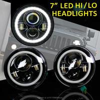 7 inch round LED Headlight For Wrangler Harley Toyota FJ Cruiser LandRover Defender With High/Low Beam Halo Ring Angel eyes