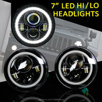 7 Inch Round LED Headlight For Wrangler Harley Toyota FJ Cruiser LandRover Defender With Halo Ring