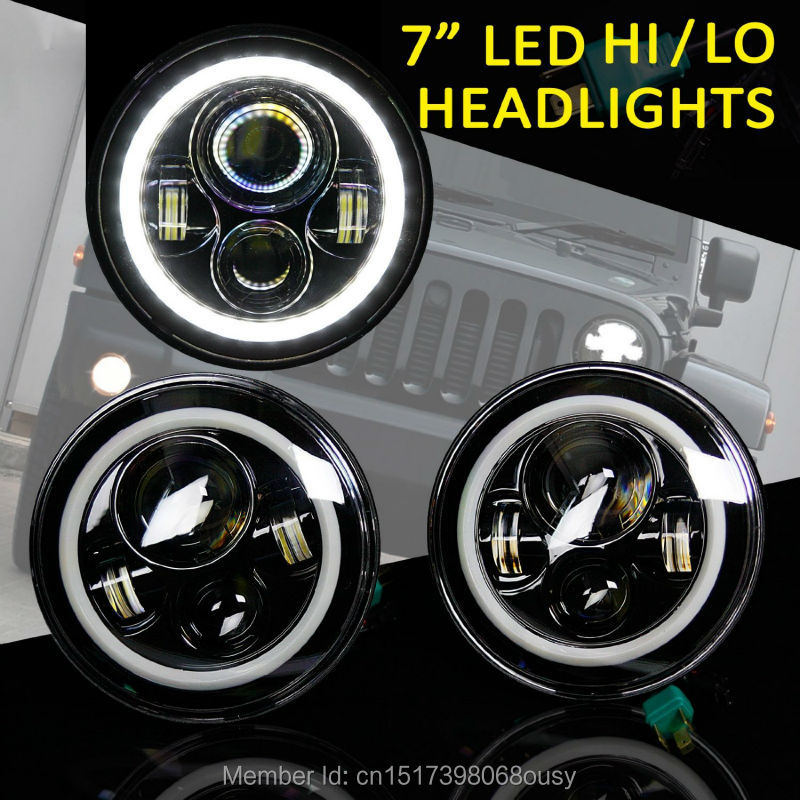 7 inch round LED Headlight For Wrangler Harley Toyota FJ Cruiser LandRover Defender With High/Low Beam Halo Ring Angel eyes