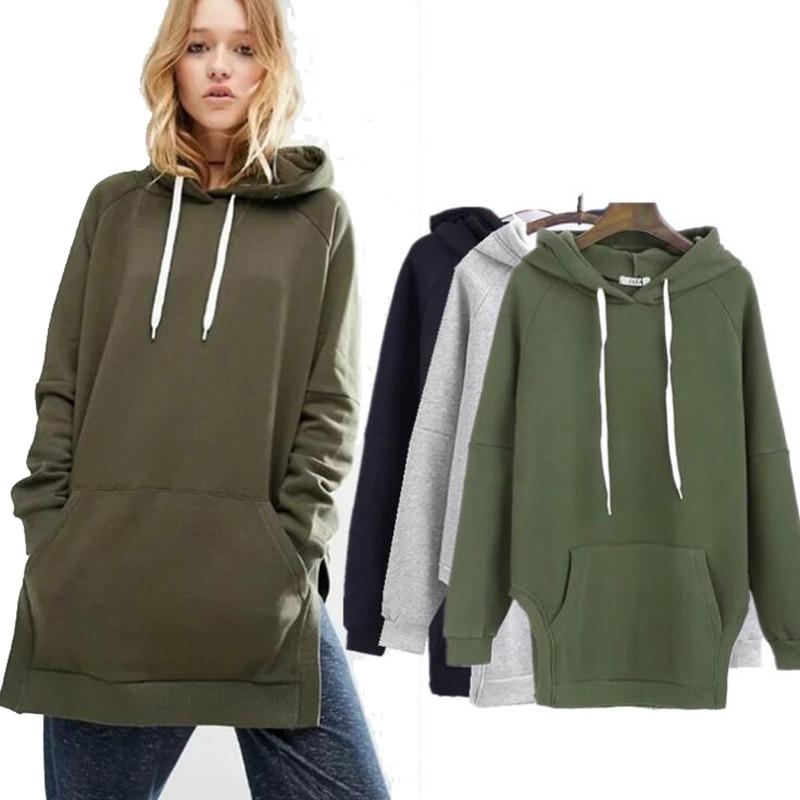Mstyle Womens Sweatshirt Solid Fleece Lined Loose Plus Size Pullover Hooded Sweatshirt