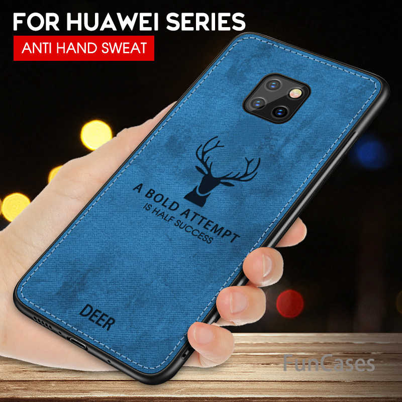 Caso de Huawei Mate 20 P20 Lite Pro caso tela de ciervo de la cubierta de tela para Honor 8X 8C 9 10 lite 7A 7C Nova 3 3i caso P Smart Plus