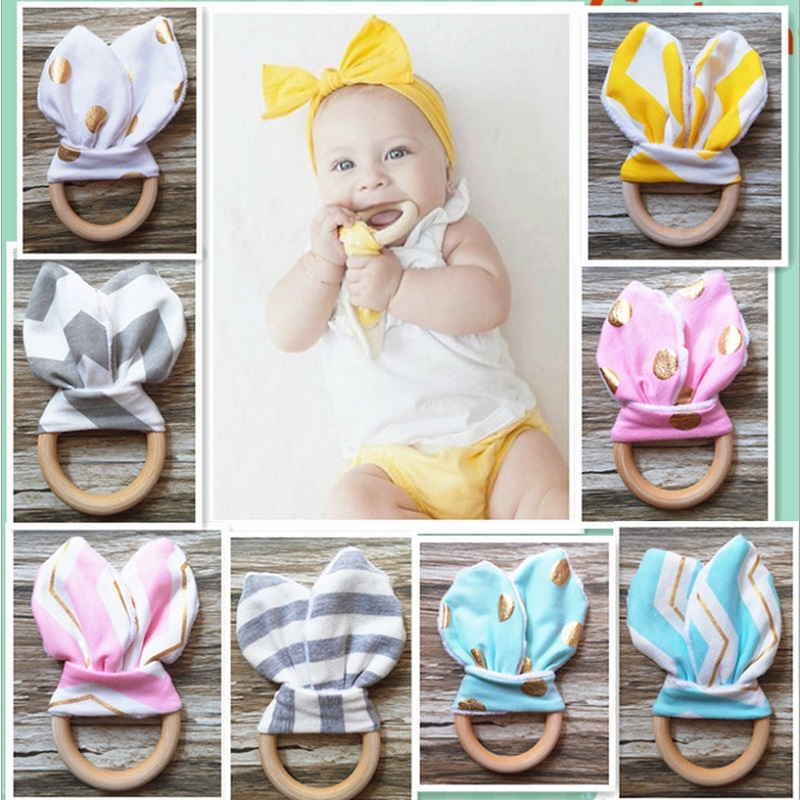 1Pc Baby Toys Soft Little Rabbit Ears Wooden Hand Grasp Toy Rattles Develop Baby Intelligence Baby Grasping Toy Hand Bell Rattle