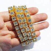 Men S Gold Color Necklace 1 Row Rhinestone Necklace Hip Hop