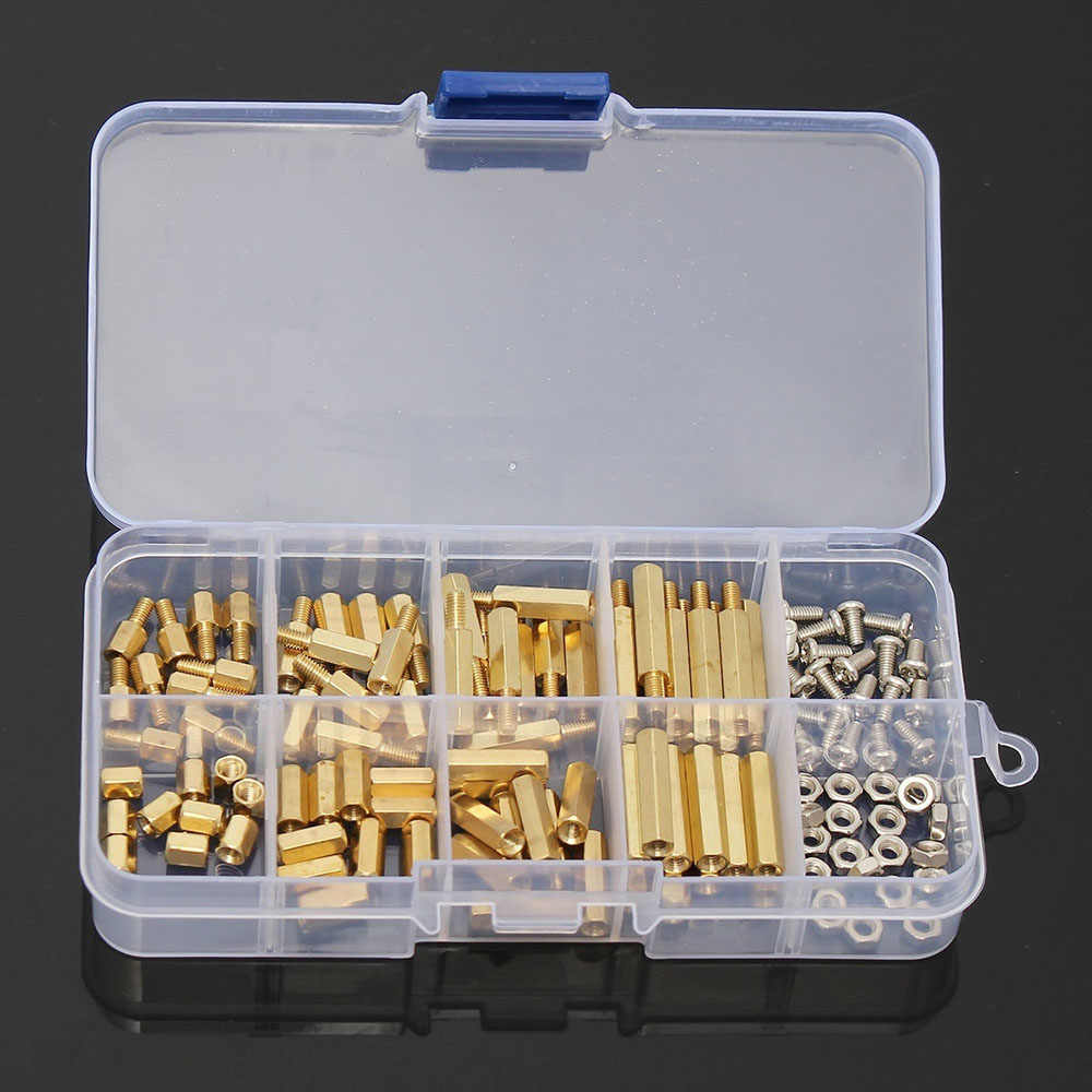 High Quality 240Pcs M3 Brass Spacer Standoff Screw Nut Assortment Kit 1 Plastic Box Home Improvement Fasteners Accessories