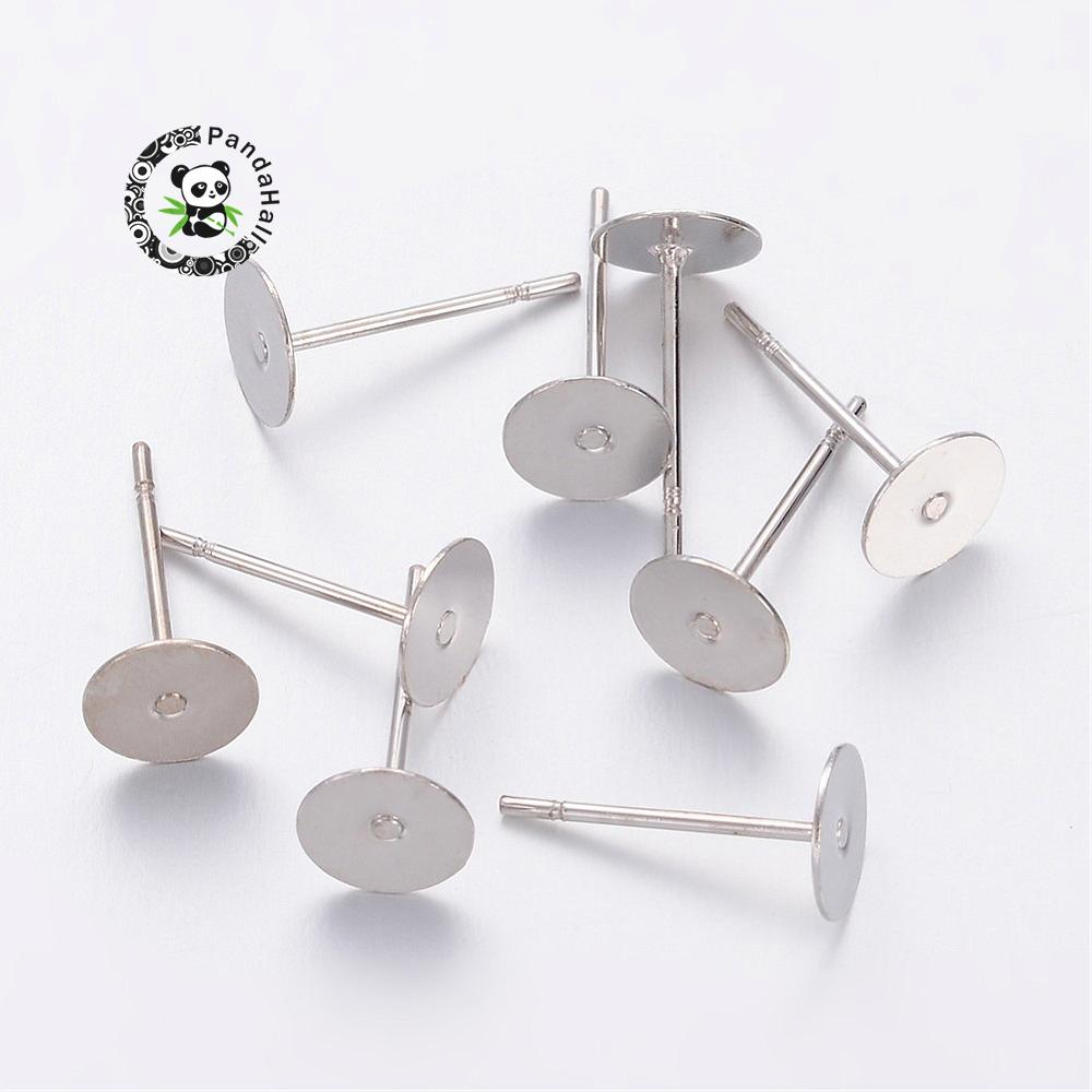 Earstud Components, Brass Head and Stainless Steel Pin, Lead Free, Cadmium Free and Nickel Free, Platinum, Tray: 6mm; 10mm;