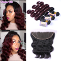 1B/99J Burgundy Ombre Brazilian Hair With Frontal Closure Body Wave Lace Frontal Closure With Bundles Ombre Bundles With Closure