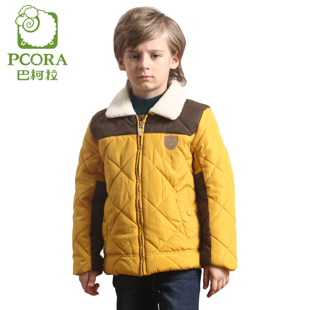 PCORA Boys Winter Coats Children Jacket Kids Cotton Padded Boys Clothes Fashion Fleece Turn-down Collar Zipper Yellow/Khaki