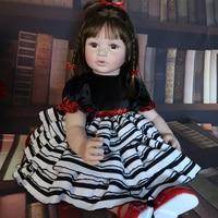 60cm Soft Silicone Reborn Babies Doll Toys For Girl Long Hair Princess Toddler bebe reborn Dress Up Doll Kid Fashion Gift