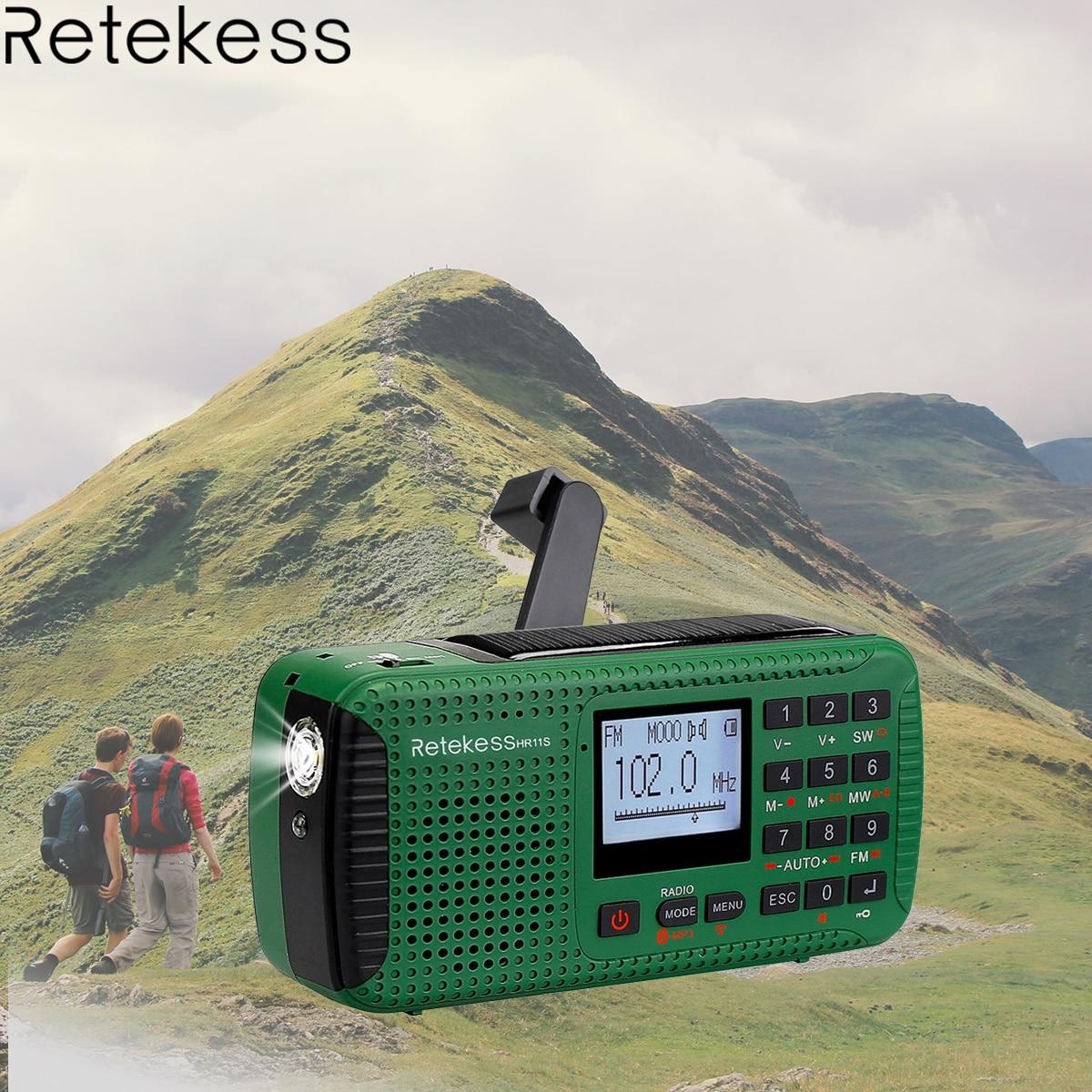 Retekess HR11S Radio d'urgence à manivelle Radio solaire FM/MW/SW Bluetooth lecteur MP3 enregistreur numérique Portable