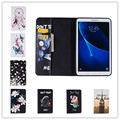 2016 new colorfull flower& butterfly leather case for Samsung Galaxy Tab A 10.1 2016 T585 T580 cute bear & cool pig wallet case