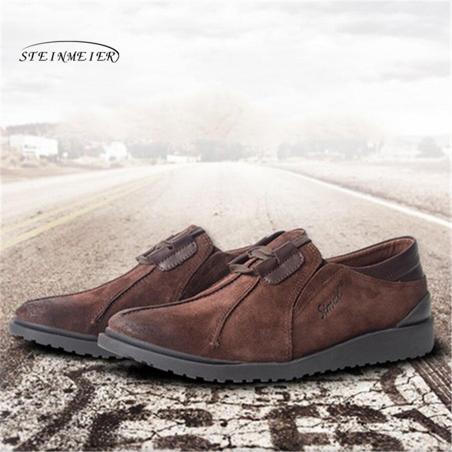 Ayakk.'ten Erkek Rahat Ayakkabılar'de Erkekler düz Rahat deri ayakkabı erkek Nefes siyah mat cowskin Ayakkabı Erkekler üzerinde kayma Daireler deri makosenler ayakkabı'da  Grup 3