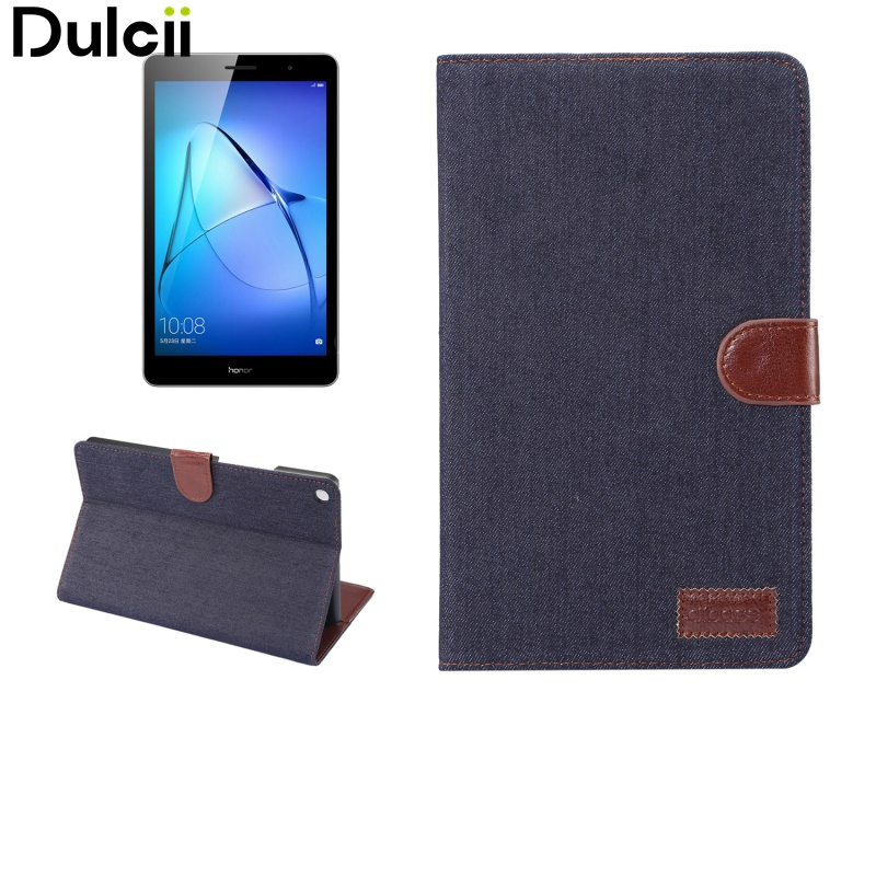 Dulcii for Huawei MediaPad M 3 Lite 10 Cover Case Auto Wake Sleep Jeans Cloth Texture Wallet Stand Leather Flip Shell 10.1 inch