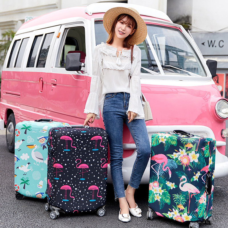 Flamingo Series Luggage Protective Cover Men's Women's Elastic Suitcase Travel Case Famale Trolley Dust Rain Bags Accessories