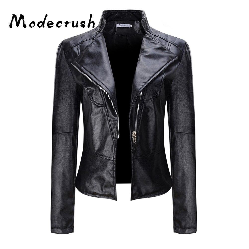 Modecrush Women's PU Jacket Long Sleeve Female Classic Faux   Leather   2019 Spring Autumn Fashionable Basic Coat Casual Outwear