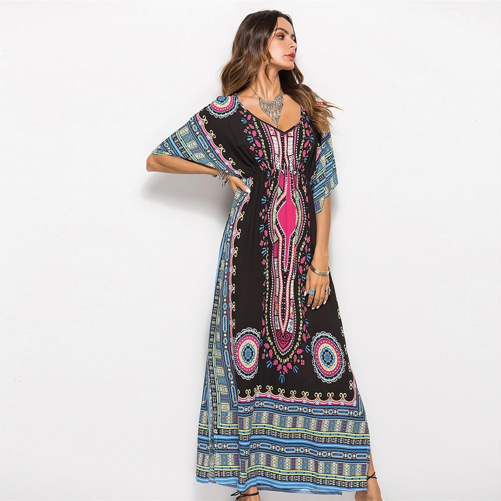 Летнее платье 2018 Для женщин в горошек с v-образным вырезом сарафан без рукавов свободные длинные пляжное богемное Винтаж платье 1 шт. ad06