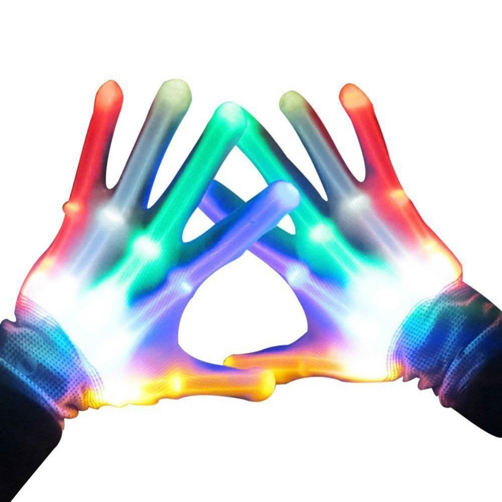 1Pair LED Finger Light Colorful Glowing Gloves Luminous Flashing Skeleton Gloves Halloween Stage Club Glow Party Supplies1Pair LED Finger Light Colorful Glowing Gloves Luminous Flashing Skeleton Gloves Halloween Stage Club Glow Party Supplies