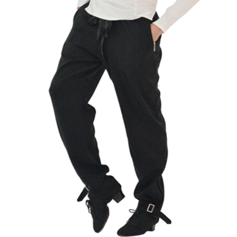 2018 New Men Ballroom Latin Dance Pants Fashion Leisure Elastic Waist Black Trousers Performance Practice Wear Tango Pant DN1008