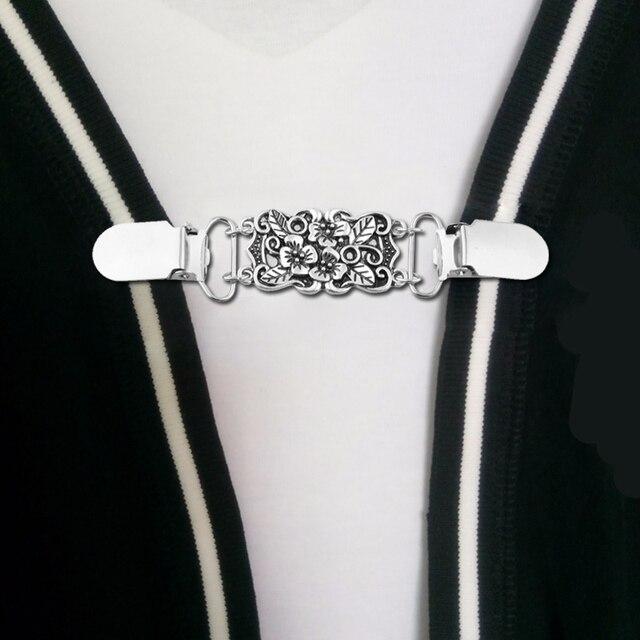 Flor camisa cuello Clip Cardigan titular suéter chal Clip con boca de pato ropa Pins Clips de costura para tirantes