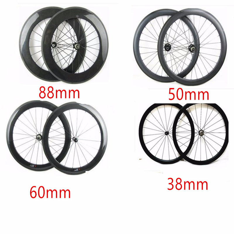700c road carbon wheels 38 50 60 88mm clincher tubular bicycle wheels 271 372 hubs carbon