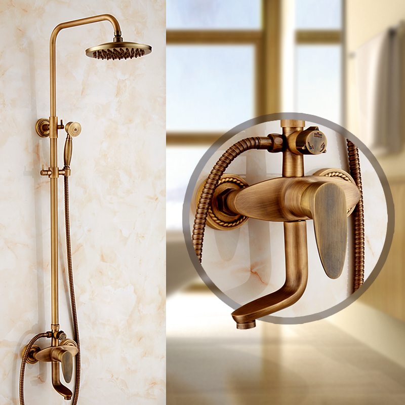 Antique shower set bathroom rain shower faucet mixer water tap, Wall mounted copper shower faucet set shower head vintage bathroom handheld shower head faucet mixer tap copper bathtub faucet shower chrome wall mounted waterfall shower faucet set