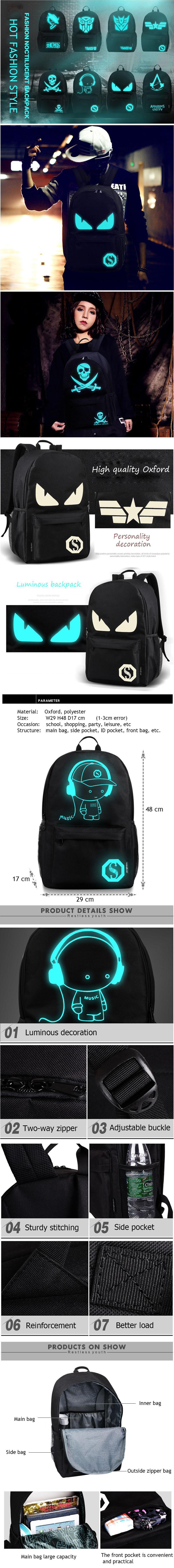 Sac à dos lumineux pour adolescent, avec chargeur USB