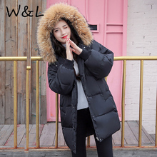 2017 Parkas Coats Warm Women Winter Jackets thick Female Overcoat Cotton liner long Coat fur collar loose casual outerwear