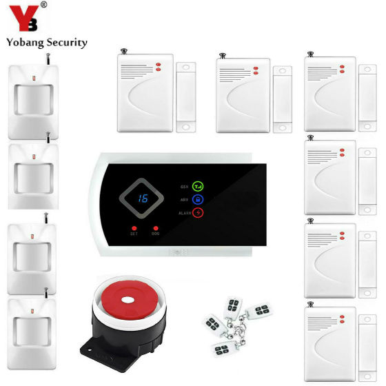 YobangSecurity Russian Spanish Italian Slovak Voice Prompt Home Security Wireless GSM Alarm System with APP Door Alarm Sensor yobangsecurity english spanish russian voice 4 wire 100 wireless defense zones gsm pstn home alarm system door window sensor kit