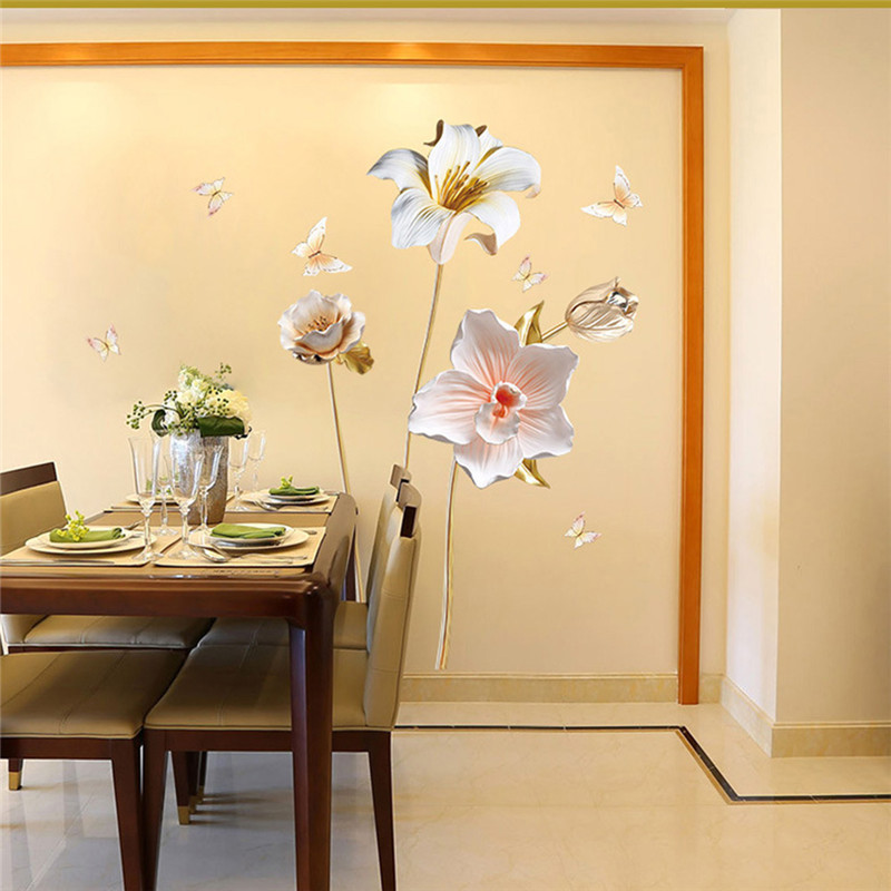 Creative DIY 3D Orchid Flowers Wall Stickers Art Decals Removable Wallpaper Home Decoration For Living Room Bedroom in Wall Stickers from Home Garden