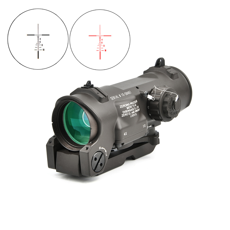 Tactical Rifle Scope 1x 4x Fixed Dual Purpose Scope Red illuminated Red Dot Sight for Rifle