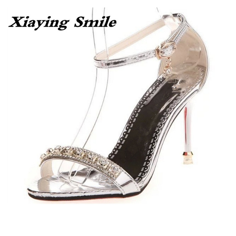 Xiaying Smile Spring Woman Sandals Summer Shoes Women Pumps Fashion Buckle Strap Bling Crytstal Thin Heel Cover Heel Women Shoes xiaying smile summer woman sandals fashion women pumps square cover heel buckle strap fashion casual concise student women shoes