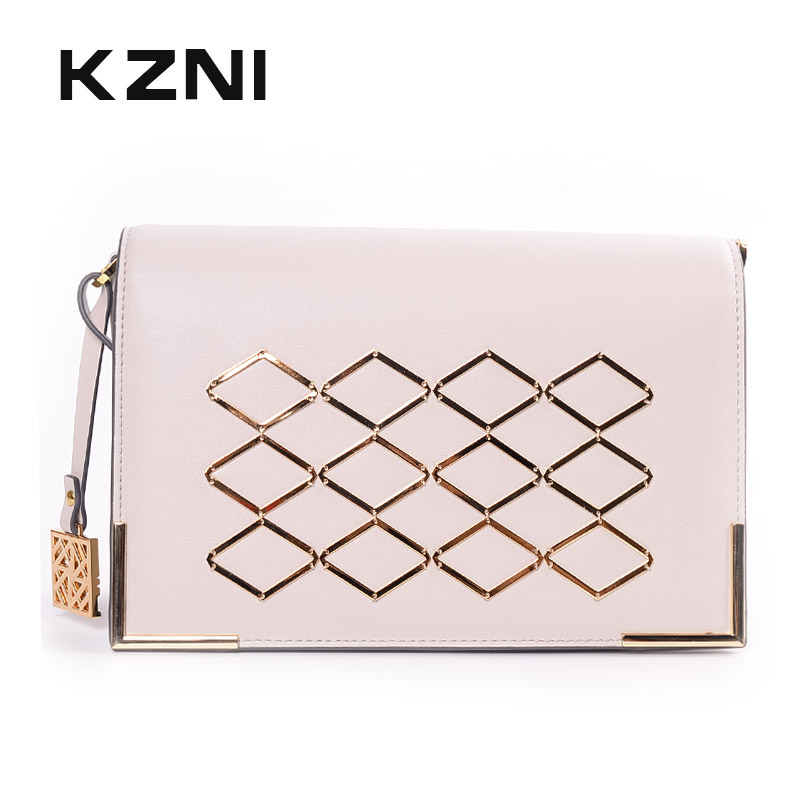KZNI Messenger Bag Women Bag Genuine Leather Women Leather Handbags Designer Handbags High Quality Sac a Main Femme 9070 kzni genuine leather bag female women messenger bags women handbags tassel crossbody day clutches bolsa feminina sac femme 1416