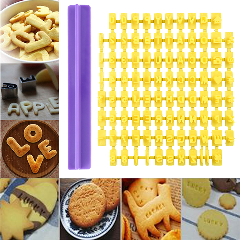 Alphabet Letter Number Biscuit Cookie Cutter Press Stamp Embosser Cake Mould title=