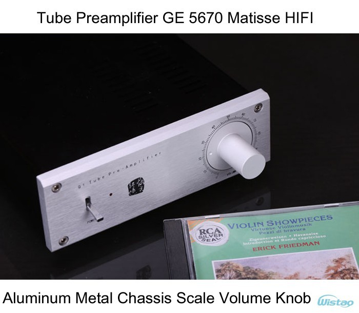 IWISTAO <font><b>Tube</b></font> Preamplifier HIFI GE <font><b>5670</b></font> Matisse Circuit Whole Aluminum Metal Chassis Scale Volume Knob Audio 110V/220V image