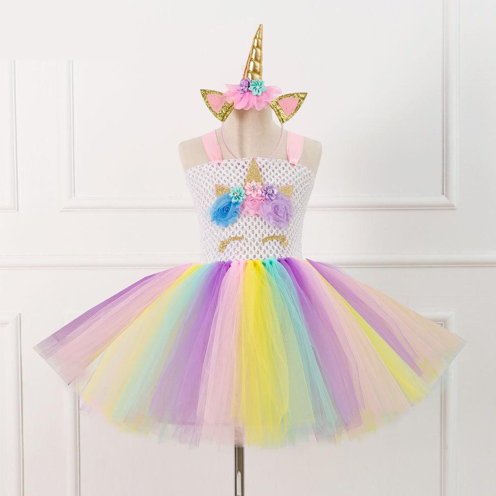 Unicorn Tutu Dress With Headband Fancy Girl Party Dresses Halloween Cosplay Rainbow Tulle Princess Dress Kids Halloween Costumes