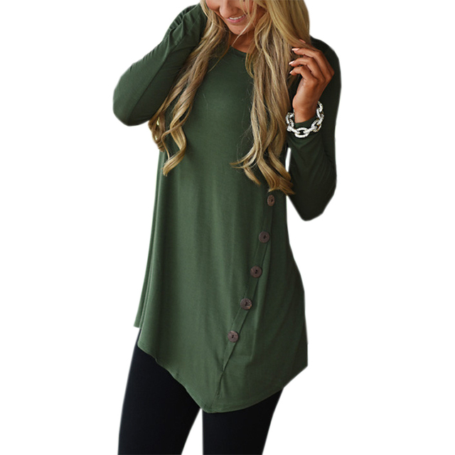 5cfdc89464f4e Mujer Irregular Blusas 2018 túnica camisa Otoño Invierno mujeres camisas de  manga larga suelta botón sólido