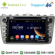 Quad Core 8″ HD 1024*600 Android 5.1.1 Car DVD Video Player Radio Stereo PC 3G/4G WIFI GPS Map For Mazda 6 Ruiyi Ultra 2008-2012
