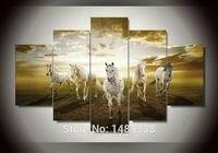 מחיר זול באיכות גבוהה אמנות תמונות סוס ריצה גדול HD הבית מודרני וול דקור תקציר בד ציור שמן הדפסת jjv-751