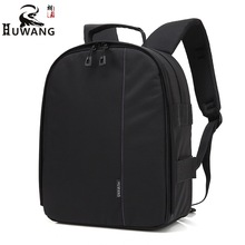 Huwang Video Photo Digital Camera Shoulders Padded Backpack Bag Case Waterproof Shockproof Small Bags for Canon Nikon DSLR