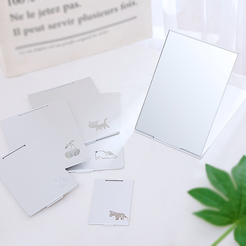 Archives Small Mirror Fold With One Portable Mirror Makeup Mirror Single-sided Originality Woman Square Almirror Mini- Card