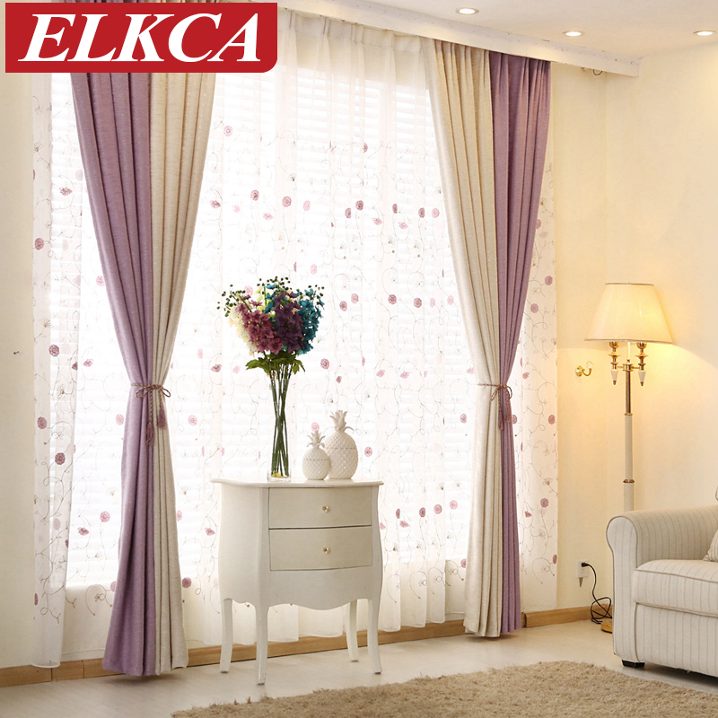 Elegant color block thick faux linen curtains for living - Glass block windows in living room ...