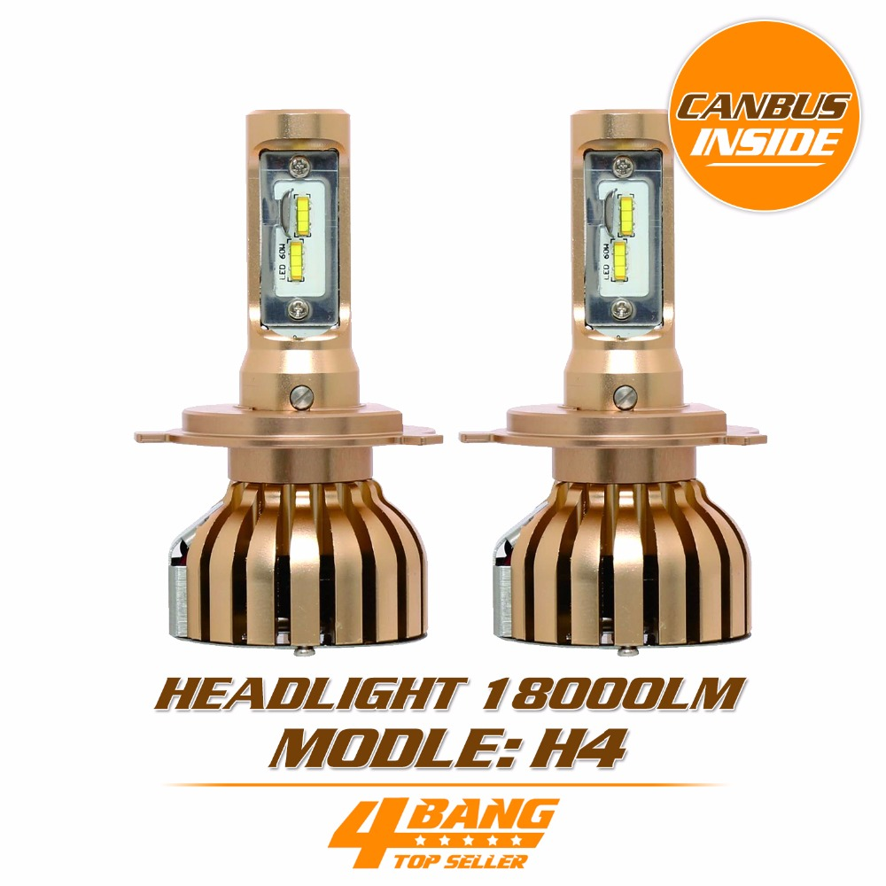 ФОТО H4 High Low Beam LED Auto Headlight Bulbs 12V 24V 5700K with Cooling Fan For Volkswagen Honda TOYOTA FORD