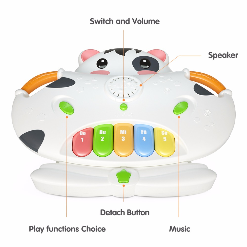 US $11 82 31% OFF|Tumama Baby Piano Music Toy Cow Electronic Organ Songs  Piano key Geometric Blocks Sorting Hamster Pairing Box Baby Music Toys-in  Toy