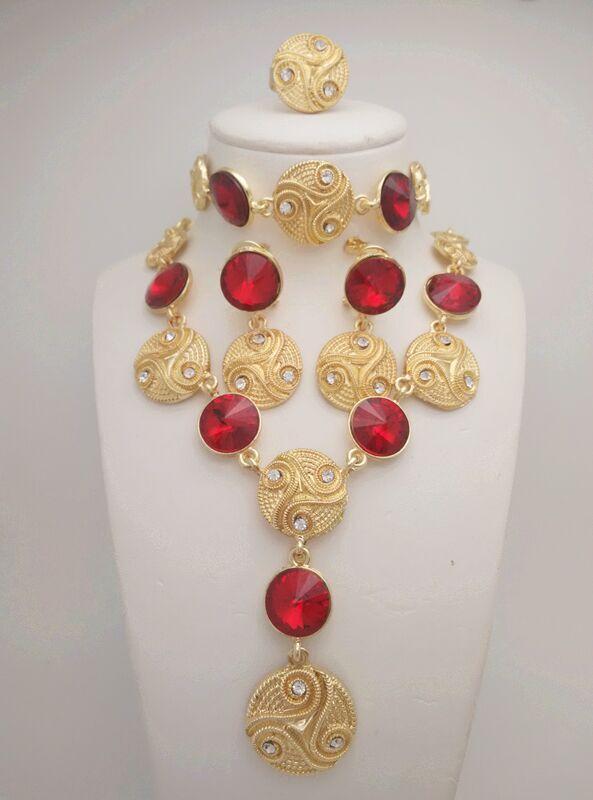 Kingdom Ma nouveau mariage nigérian en alliage de Zinc perles africaines ensemble de bijoux collier en cristal saoudien Bracelet boucle d'oreille anneau ensemble de bijoux