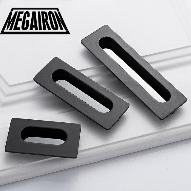 MEGAIRON 1PC Hidden Handle Hideaway Zinc Alloy Cabinet Door Pull Handle  Knobs Slotted Hidden Door Handles