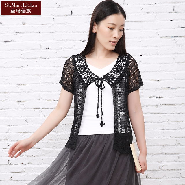 2016 Summer Style Hand Knitted Womens Short Sleeve Cardigan Hollow Out  Crochet Shrug For Women5051
